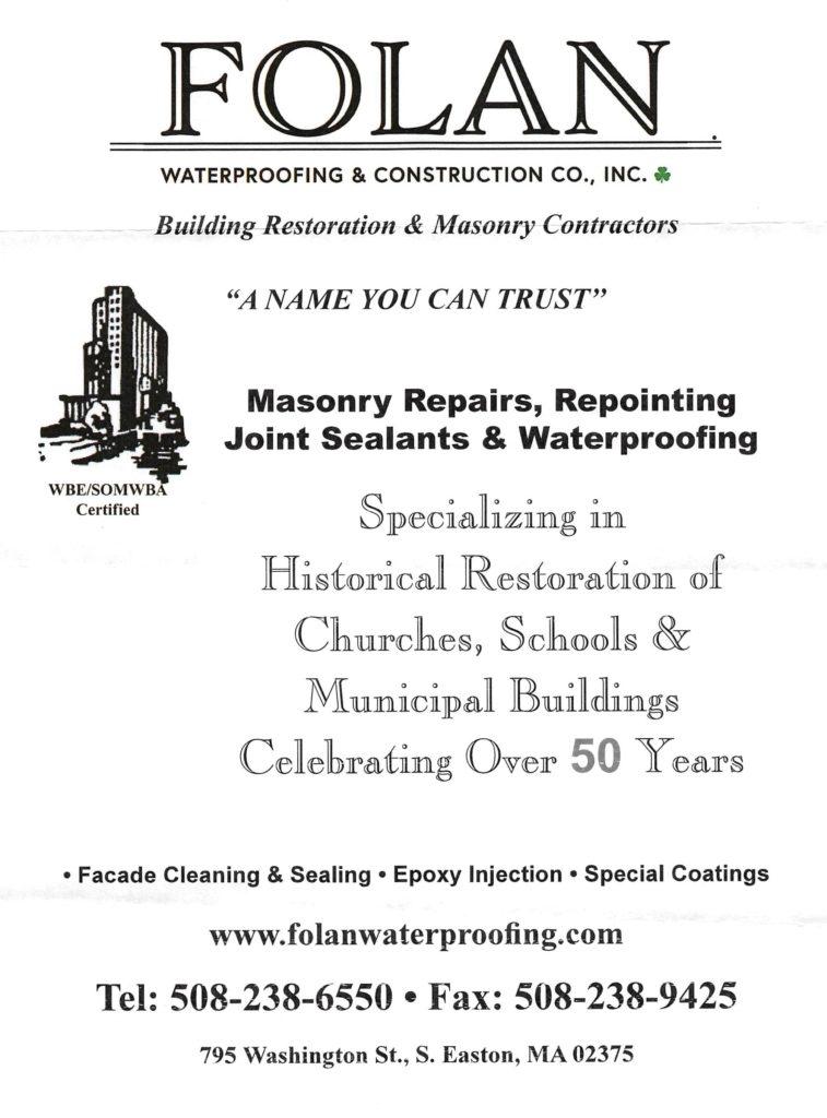 Folan Waterproofing & Construction Co., Inc. Gala Ad