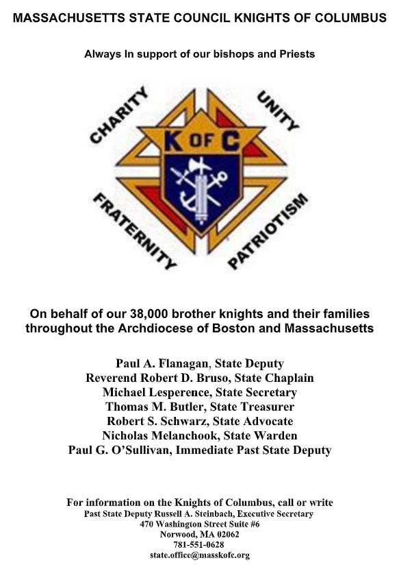Massachusetts State Council Knights of Columbus Gala Ad